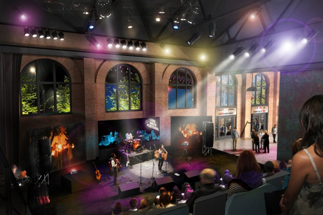 Imagined new stage, looking the direction of the Delaware waterfront | Image courtesy of WRT Planning & Design