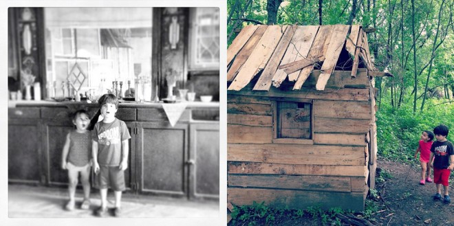 """Welcome to the overlook"" (left), ""Introduction to improvised shack"" (right) 