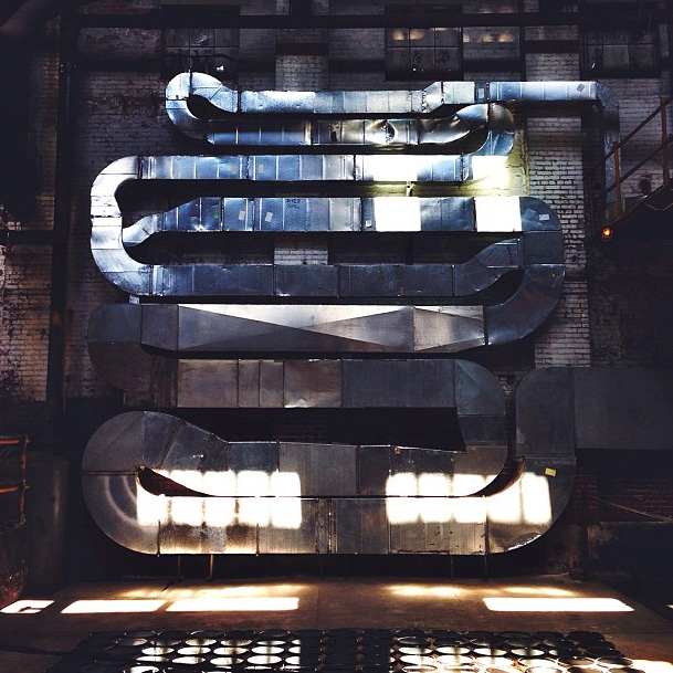 """6•15•13 Stop number two of the #HiddenCityFestival, Global Dye Works factory with a Dufala Brothers installation called """"Oil & Water""""   Photo: @ejbrus"""