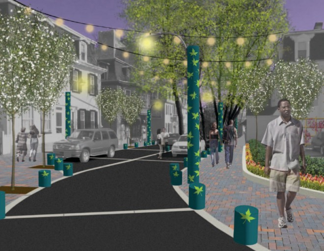 Coming soon? Rendering for a re-imagined Maplewood Mall | Image: Central Germantown Business District Beautification Plan, Philadelphia City Planning Commission