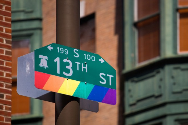 Liberty City: rainbow flag and Liberty Bell on 13th Street at Sansom | Photo: Bradley Maule