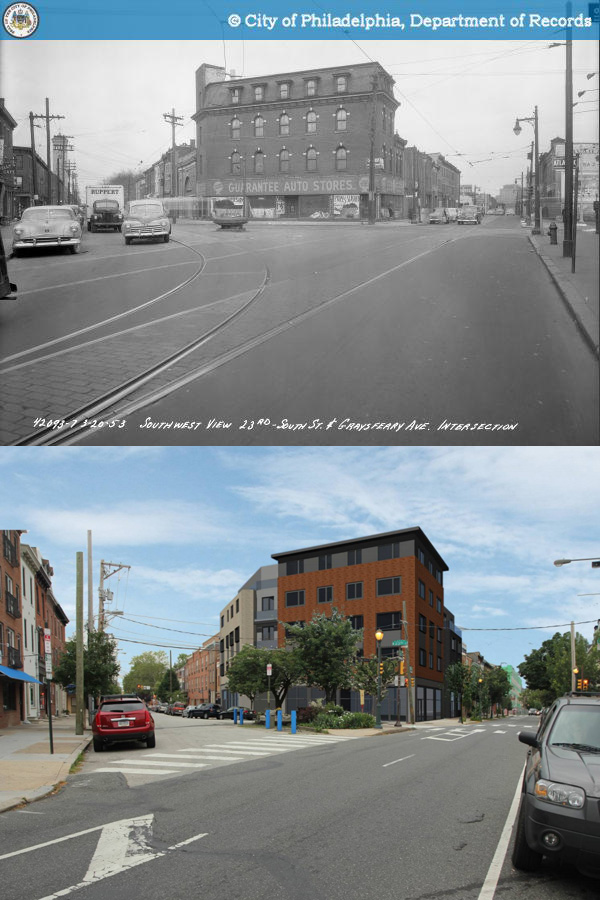 "Way before and way after: top image from 1953 from >a href=""http://www.phillyhistory.org/PhotoArchive/Detail.aspx?assetId=26571"">PhillyHistory.org; bottom photo courtesy of Plumbob LLC and 2300 South Street Association LP. Note Catharine Thorn Fountain in each"