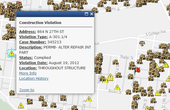 Screen shot of L&I violations from phila.gov/map