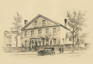 Frank H. Taylor drawing of the house as Brith Sholom Congregation of Paschalville | Source: Library Company of Philadelphia