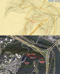 Then and Now: Old Chamounix Road, the Chamounix hostel trail, and Bridge #704 | Top map by J.L. Smith, 1910, accessed at PhilaGeoHistory.org; bottom map via Google Maps