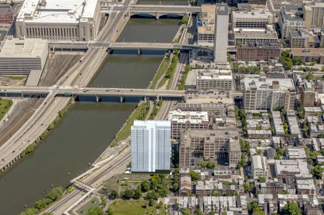 The tower's not going to look like this -- it's just a massing study   Image: Dranoff Properties and Cecil Baker + Partners