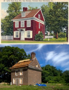 "Then and now: the Letitia Street House, mislabeled as ""William Penn Mansion"" from a 1920s postcard (top) and in 2013 (bottom), photo by Bradley Maule"