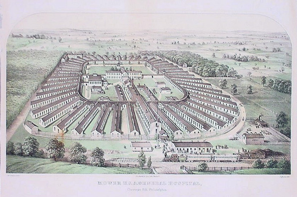 """Mower U. S. A. General Hospital, Chestnut Hill, Philadelphia"" lithograph by James Queen, 1863 
