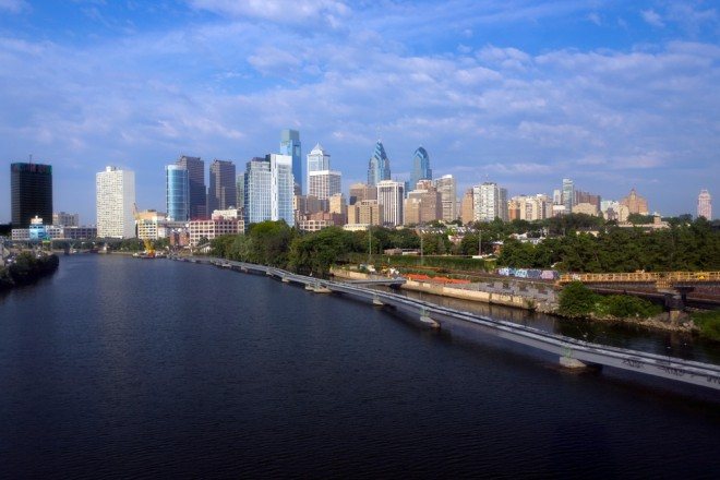 Philly Skyline, new addition | Photo: Bradley Maule, One Riverside rendering: Dranoff Properties and Cecil Baker + Partners