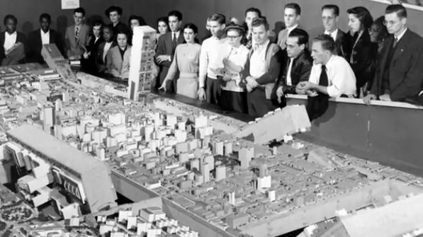 "Citizens wowed by The Better Philadelphia exhibit, 1947 | Screenshot ""Urban Renewal"" webisode, History Making Productions"