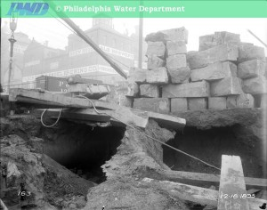 Superstructure over water main under construction, 1895. Note the Bergner & Engel Brewery (32nd & Master) in the background | Image: Philadelphia Water Department historical photographs, via PhillyHistory.org