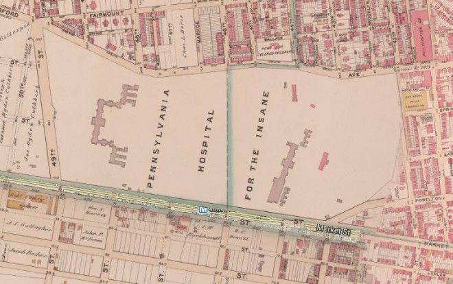 The massive campus of the Pennsylvania Hospital for the Insane |  1895 Bromley Atlas, Philadelphia Geohistory