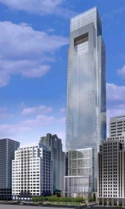 The last published rendering for the Comcast Center complex still included the smaller Two Pennsylvania plaza, at left | Image: Robert A.M. Stern Architects