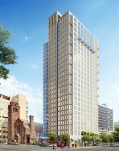 """38 Chestnut"" as planned next to Episcopal Cathedral 
