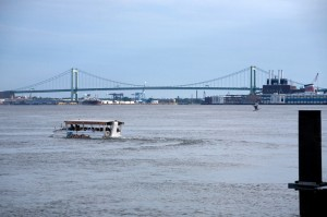 Tourist-heavy Duckboat, Walt Whitman Bridge at rear | Photo: Bradley Maule