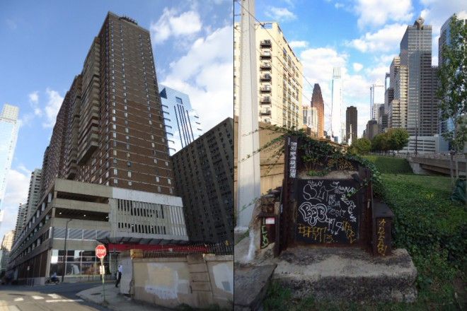 LEFT: Kennedy House apartments with Penn Center House to the right and the Sterling behind. Both Kennedy House and the Sterling were built atop the PRR subway as air rights development; RIGHT: This piece of steel was part of a support pole that held up the overhead wires atop the Chinese Wall viaduct. The viaduct itself is now partially used to support JFK Boulevard | Photos: Shadowbat
