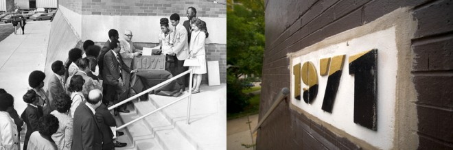 University City's cornerstone: LEFT, Board of Education's Dr. Alec Washco accompanied by student government officers Helen Wilson and Jeff Marriott, 1971, photo by the Philadelphia Evening Bulletin, courtesy of Temple Urban Archives; RIGHT, the same cornerstone in 2013, photo by Bradley Maule