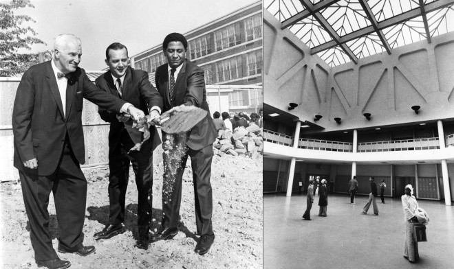 LEFT: groundbreaking for UCHS with Penn President Gaylord Harnwell, SDP Superintendent Mark Shedd, and Board of Education member George Hutt, image by Philadelphia Evening Bulletin; RIGHT: second floor of UCHS | both images by Philadelphia Evening Bulletin, courtesy of Temple Urban Archives