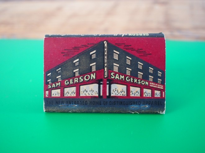 Sam Gerson apparel store matchbook | Photo: Nathaniel Popkin