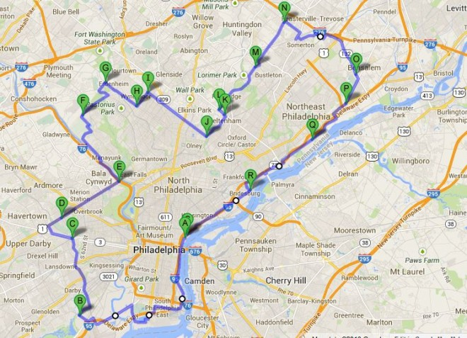 The 72 mile bike course on the city's border | Image: Googlemaps, courtesy of Shawn McKenna