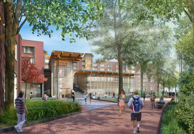 The main entrance, viewed from Woodland Walk near 34th Street | Rendering courtesy of University of Pennsylvania and Bohlin Cywinski Jackson
