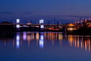 Though technically not part of the SRDC relighting project, the lighting scheme was part of the new South Street Bridge's design from the beginning   Photo: Bradley Maule