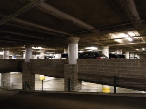 Once home to the Budget store and service areas, the three basement levels now serve as parking | Photo: Shadowbat