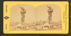 Arm and torch of Bartholdi's Statue of Liberty at Centennial, 1876 | Image: Robert Dennis collection of stereoscopic images (via WikiCommons)