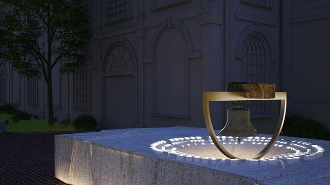 The Great Bell in its proposed location in the Christ Church garden | Image: Moto Designshop