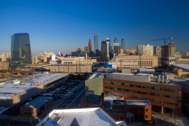 A growing Philly skyline, viewed from Drexel University, bookended by Cira Centre and evo at Cira Centre South; the forthcoming Innovation Neighborhood will encompass the left half of the picture in the foreground of 30th Street Station | Photo: Bradley Maule