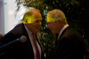 Ed Rendell and Carl Dranoff at the announcement of SLS International on the Avenue of the Arts; in order to make way for the 47-story tower, two historic buildings will be demolished | Photo: Bradley Maule