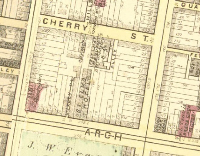 This 1875 Hopkins Atlas shows the various cartway and footway types in Old City Philadelphia, as well as the various types of pedestrian thoroughfares | G.M. Hopkins' Philadelphia Atlas, 1875.)