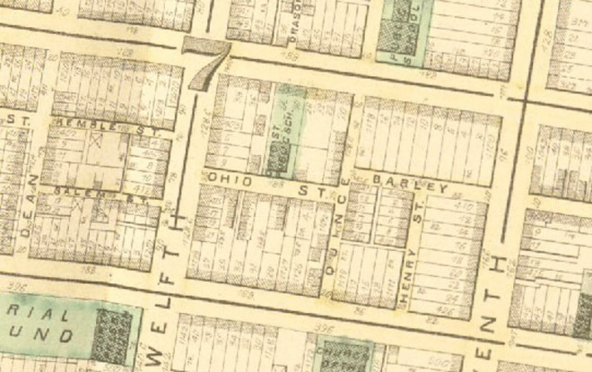 This 1875 Hopkins Atlas shows the 1100 block between Lombard and Pine Streets with Ohio Street (now Waverly) and its courts. The map also illustrates the density of the blocks in the area | Image:
