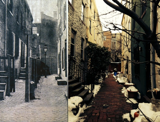 On left, circa 1905, Hazel Avenue (also Bell's Court) (Housing Conditions in Philadelphia, Emily W. Dinwiddie, Philadelphia, 1904). On right, the same court today (Photo: Oscar Beisert). Note: the relationship can be understood by the number of buildings; the entrance heights; and various documentary evidence.