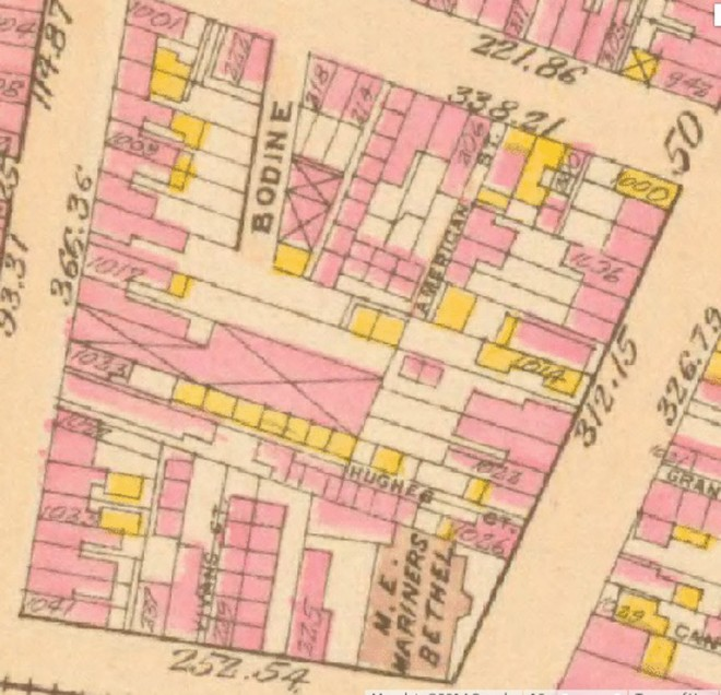 This 1895 Bromley Atlas shows the configuration of the 200 block between Carpenter Street and Washington Avenue with at least four of its early residential courts. Note: the site illustrated below is at the top of the image between Bodine and American Streets  | G.W. Bromley and Co. Atlas of the City of Philadelphia, 1895.