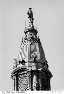 Postcard view of the Penn statue, surrounded by antennae | Photo by Carl Scholfield
