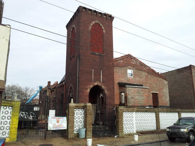 The former Greenwich Street Church, currently being demolished for two single-family homes | Photo: Christopher Mote