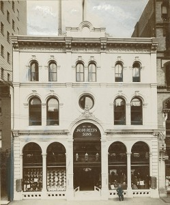 Prior to building their Italian palazzo, Jacob Reed's Sons operated a location in this three-story building at 1424 Chestnut | Photo via Free Library of Philadelphia</a<