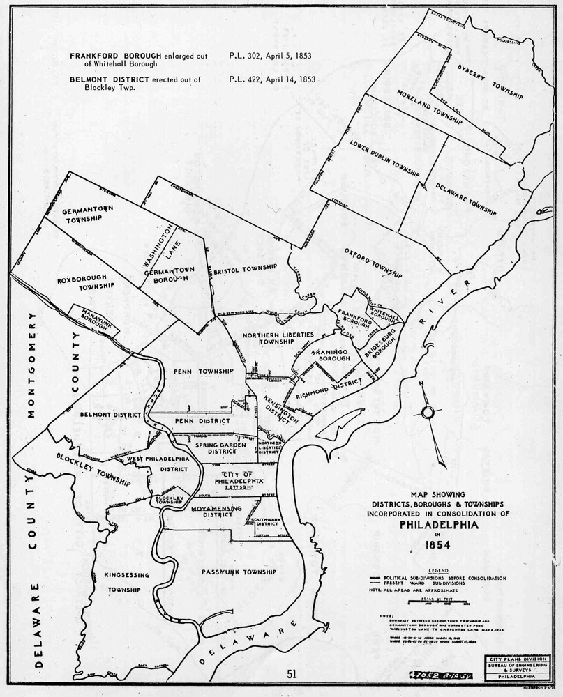 Circa-1959 map showing pre-1854 consolidation | Map: City Plans Division, Bureau of Engineering & Surveys
