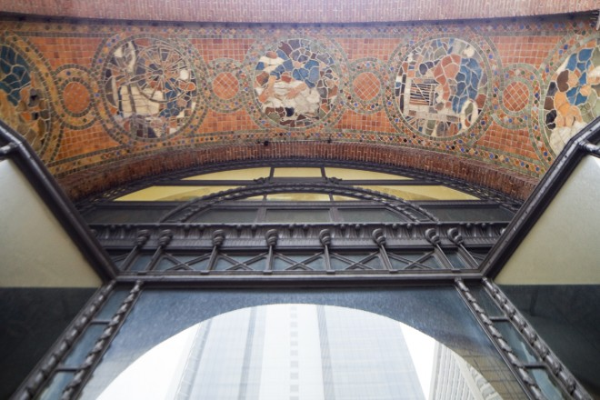Mercer tiles above the store's entrance | Photo: Peter Woodall