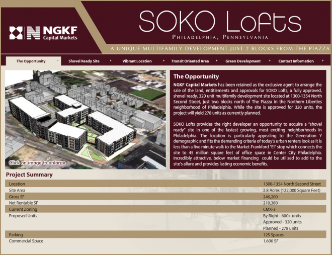 Screenshot of the Newmark Grubb Knight Frank listing for the Soko site.