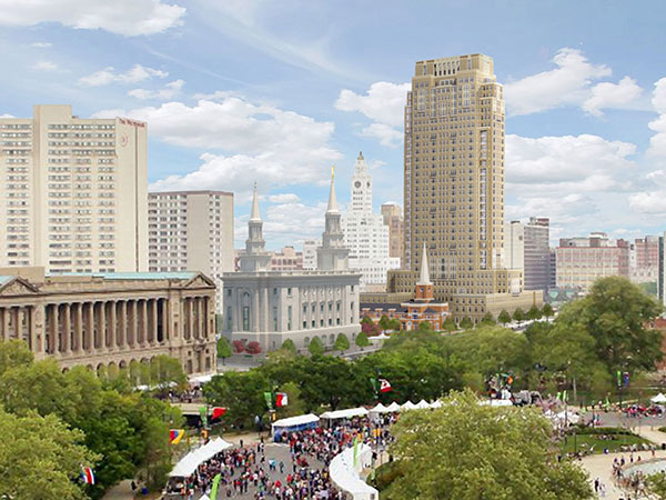 Rendering of Mormon tower by Robert A.M. Stern Architects, via The Inquirer