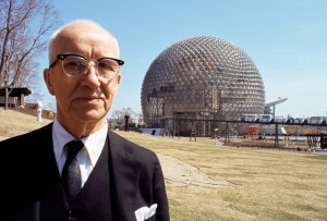 Bucky Fuller at the Montreal Biosphere, built for the United States Pavilion at the Expo 67 world's fair, 1967