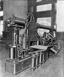 A pneumatic tube canister receiver and transmitter machine at the Philadelphia Post Office at Ninth and Chestnut Streets. From Postal Guide, Philadelphia Post-Office: Containing Postal Information (1900) by the United States Post Office, found at Google Books.