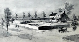 """There few images of any of the botanical gardens discussed in this piece. This drawing of """"McAran's Pleasure Garden"""" is by Frank H. Taylor, after a painting by David J. Kennedy. This is the future site of the Comcast Center. From www.brynmawr.edu/iconog (Places in Time: Historical Documentation of Place in Greater Philadelphia)."""
