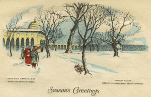 "This Season's Greetings envelope, ""Vaux Hall Garden, 1819,"" was produced ca. 1930 by the Fidelity-Philadelphia Trust Company. Image was found at http://libwww.freelibrary.org/diglib/SearchItem.cfm?ItemID=pdcp00677."