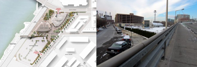 As planned, CHOP's expansion east of the river would require a major reconfiguration on South Street Bridge. Illustrated at left, entry to a new parking garage would create a new traffic crossing for pedestrians and cyclists; At right, the current conditions at that location (Photo: Theresa Everline)