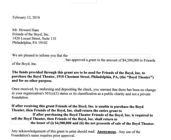 Redacted grant letter sent by the anonymous foundation to Friends of the Boyd, the Historical Commission and LiveNation