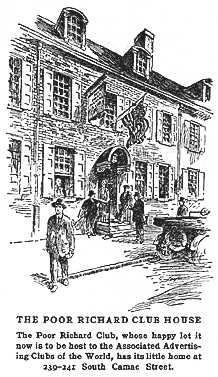 The Poor Richard Club on Camac Street. From Frank H. Taylor, Poor Richard's Dictionary of Philadelphia (1916