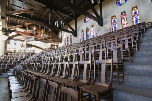 Tindley still uses the original pews on the main floor of the auditorium, and the original chairs on the balcony pictured here | Photo: Peter Woodall, 2011